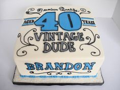 """Vintage Dude cake Ooooo!!! This in red instead of blue? Then I can have cupcakes with little """"80""""s on them"""