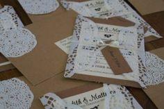 Einladungskarten Hochzeit mit Tortenspitze selber machen