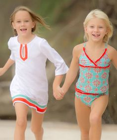 Aqua Floral Tankini & Cover-Up - Infant, Toddler & Girls #zulily #zulilyfinds