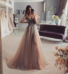 Charming V neck Tulle Beaded Long Prom Dress, Champagne Evening Dress T1795 Backless Prom Dresses, Homecoming Dresses, Strapless Dress Formal, Formal Dresses, Fancy Dress, Champagne Evening Dress, Plus Size Prom, Party Gowns, Dress Making