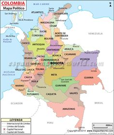 Colombia Political Map provides a deep knowledge on major cities, provinces and the provincial capitals of Colombia. It is situated in South America and is surrounded by Brazil, Peru, Equador and Venezuela India World Map, India Map, Kerala India, India Travel, Geography Map, Geography Lessons, Physical Geography, Geography Worksheets, Indian River Map