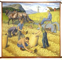 """The late Portland, Maine painter Ralph Frizzell created two murals in 1940 for placement in Nathan Clifford School in Portland. This one, titled """"Farming,"""" shows a family of potato farmers in northern Maine...""""Frizzell was an excellent craftsman and a good example of New Deal art."""""""