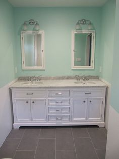 My bathroom  Kent vanity and medicine cabinets by Restoration Hardware   Devonshire light and sinkWhite Marble Bathroom Floor in A Cottage By Stepping Stone and  . Kent Bathroom Vanity Restoration Hardware. Home Design Ideas