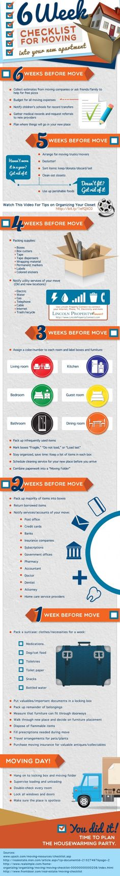Here is an infographic that shares a checklist for moving into your new apartment. Find helpful ways to getting a move on. From budgeting all your moving expenses to staying organized, this inf Moving Home, Moving Day, Moving Tips, Moving Hacks, Move On Up, Big Move, Moving Checklist, Moving Expenses, New House Checklist