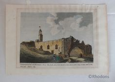 Hand colour tinted antique engraving showing south side of the church with a large broken arch at the east end Antique Prints, Vintage Prints, Retro Vintage, Hand Coloring, 18th Century, Scotland, Antiques, Arch, December