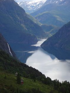 Beautiful Norwegian Fjord. Far away you can see the small village Tafjord.
