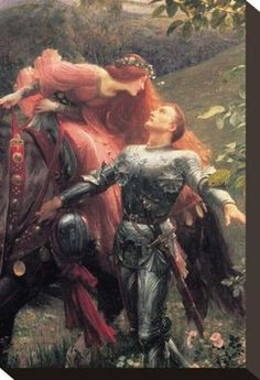 La Belle Dame Sans Merci by Frank Bernard Dicksee; knight; red hair; couple; lovers; love; painting; paintings; art; artist; romance; romantic