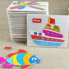 Baby Educational Wooden Kids Toys Puzzle For Children Learning Juguetes Educativos Jouet Enfant #Affiliate