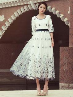 Luxury Embroidery Organza Half Sleeve Chiffon Maxi Dress