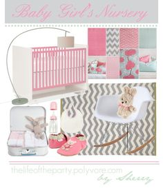 Baby Girl's Nursery color palette...light pink, grey, and soft teal with pattern mixtures