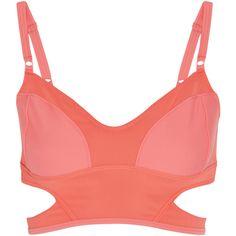 Adidas by Stella McCartney Swim cutout bikini top ($35) ❤ liked on Polyvore featuring swimwear, bikinis, bikini tops, tops, adidas, stella mccartney, underwear, orange, orange bikini and swimsuit tops