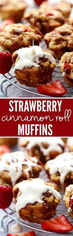 The most perfect and moist muffins with pockets of cinnamon sugar and fresh strawberries throughout! The cream cheese glaze on top is amazing and these will become your favorite muffin!