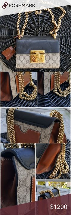 """Gucci Padlock GG Supreme Authentic Gucci Padlock GG Supreme  Gold Chain, Leather, Canvas Bag  ***Indentations come from chain*** ***Can be corrected easily*** ***Comes """"as is"""" without duster or papers*** Gucci Bags Shoulder Bags"""