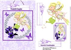 daughter granddaugther fairy card on Craftsuprint designed by Cynthia Berridge - daughter granddaughter fairy card with decoupage and tag - Now available for download!
