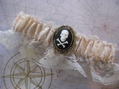 Ivory Lace Pirate Wedding Garter by bluesparrowtrinkets on Etsy, $13.00
