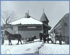 GRAIGLEITH, Ontario, Canada - Queen Anne Style architecture - rail station in winter