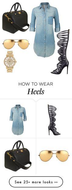 """Denim dress & gladiator heels"" by tootieblack on Polyvore"