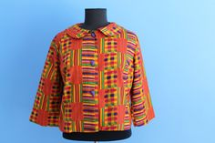 Vintage inspired cropped African fabric jacket s 8 - 22 via Etsy
