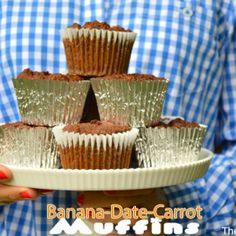 Banana-Date-Carrot Muffins {Gluten free- No Sugar Added)