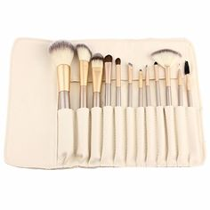 Yoa 12 Piece Makeup Brushes Set | Horse Hair Professional Kabuki Makeup Brush Set Cosmetics Foundation Makeup Brushes Set Kits with White Cream-colored Case Bag >>> Find out more about the great product at the image link.
