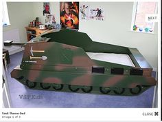 Ed Payne Jeep >> Army Tank themed bed - showing in-built toy box. | Kids ...