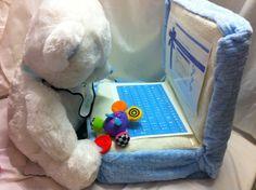 Laptop diaper cake from Baby Baskets www.babybaskets.gr