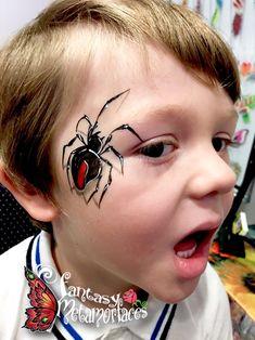 3D redback spider face paint