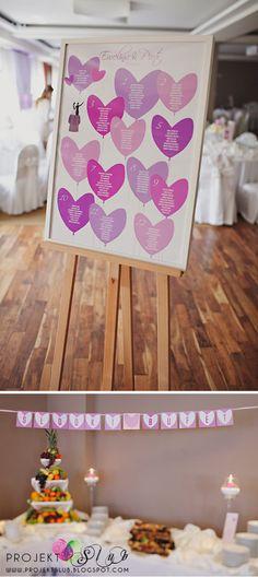 projekt ŚLUB - zaproszenia ślubne, oryginalne, nietypowe dekoracje i dodatki na wesele: Miłosny Balon - liliowo różowe dodatki + fotorelacja z sali weselnej