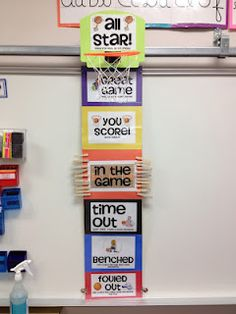 Im already interested in clip charts but i really like the sports theme. If you go to her website, she has lots of ideas for a sports themed classroom. Great to stress teamwork! Sports Theme Classroom, Classroom Design, School Classroom, School Fun, School Stuff, Classroom Ideas, Classroom Charts, School Daze, School Sports