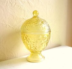 Yellow Glass Egg Shaped Compote Jar