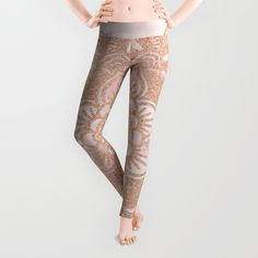 Rose gold mandala - pink marble Leggings
