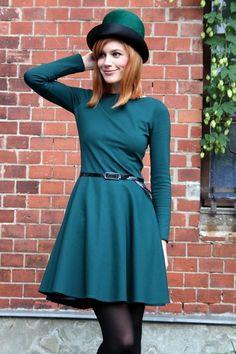 Romi - Winter Jersey Kleid Tellerrock petrolfarben von Vampire Vintage - Unique Vintage & Handmade auf DaWanda.com