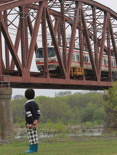 Kiso-gawa Railway Bridge and Meitetsu train, Aichi/Gifu, Japan 木曽川鉄橋