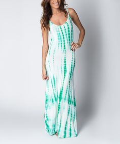 Look at this Paradise USA Fashion Turquoise Ripple Tie-Dye Maxi Dress on #zulily today!