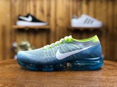 Drop shipping Nike Air VaporMax Sprite Wolf Grey Blue 849558 022 , With a reinvented cushioning system, the NikeLab Air VaporMax Flyknit Men's Running Shoe delivers a lightweight, Mens Nike Air, Nike Air Vapormax, Air Max Sneakers, Sneakers Nike, Running Shoes For Men, Mens Running, Nike Dunks, Green And Grey, Gray