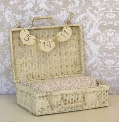 Baby Infant Photo Prop Basket Trunk With Personalized Sign Rustic Shabby Chic. $45.00, via Etsy.