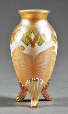 Quezal Iridescent Art Glass Vase