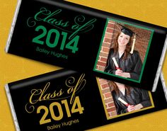 Personalized Graduation Candy Bars featuring the Graduate's Photo - wrapped HERSHEY'S candy favors #gradparty