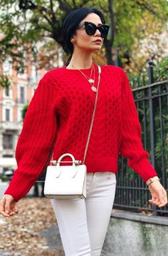 valentines day outfit inspiration / red knit sweater   bag   pants