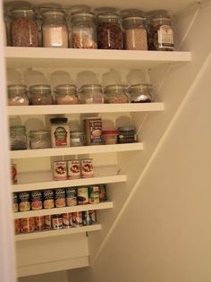 Best pantry closet remodel under stairs ideas Food Storage Shelves, Pantry Shelving, Basement Storage, Stair Storage, Basement Stairs, Pantry Storage, Closet Storage, Kitchen Storage, Storage Ideas