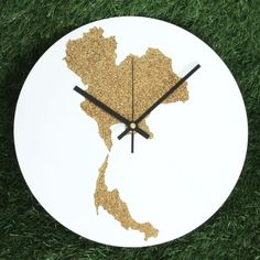 """Large Wall Clock Home Decoration DIA 12"""" inch - Thailand Map - Glitter Gold Colour : Black Clock Hands"""