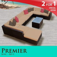 """Premier Outdoor Wicker 10 Piece Patio Set Taupe Covers -10C by TK Classics. $2268.00. Fully Assembled - ready to relax and enjoy. Affordable and comfortable Modular Furniture allows for endless arrangement possibilities. 4"""" Welted cushions for a luxurious look and feel. Versatile design for ANY patio size. """"No Sag"""" solid wicker bottoms with extra flexible strapping providing long-lasting suspension. 2 for 1 Special: Purchase 1 of our Classic Patio Sets and rec..."""
