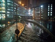 Carey Tunnel in the financial district. 30 Oct 2012  Hurricane Sandy moving in.