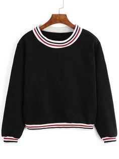 Black Round Neck Striped Crop Sweatshirt. -SheIn