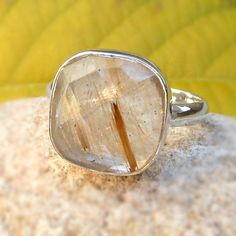 Natural Yellow Rutilated Quartz Ring Sterling by FineSilverStudio