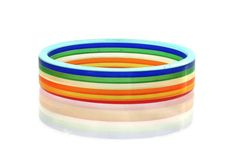 Vintage Lucite Rainbow Stripe Bangle Bracelet by theheritagerose