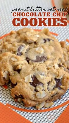 Easy Cookie Recipes, Cookie Desserts, Just Desserts, Sweet Recipes, Baking Recipes, Delicious Desserts, Dessert Recipes, Peanut Butter Oatmeal, Chocolate Chip Oatmeal