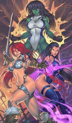 She-Hulk, Red Sonja, & Psylocke by chuck-piresART.deviantart.com on @deviantART