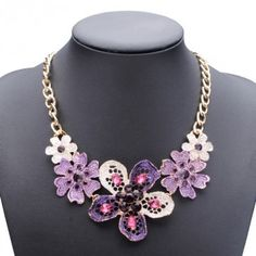 Fashionable Oil Drip Crystal Flower Choker Necklace - NewChic