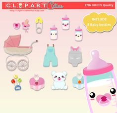 Baby bottle kawaii Clipart Digital graphics por clipartcutieshop